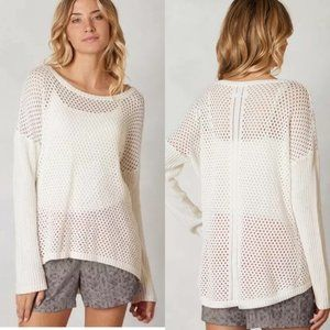 Prana Parker White Open Knit Sweater Sz XL